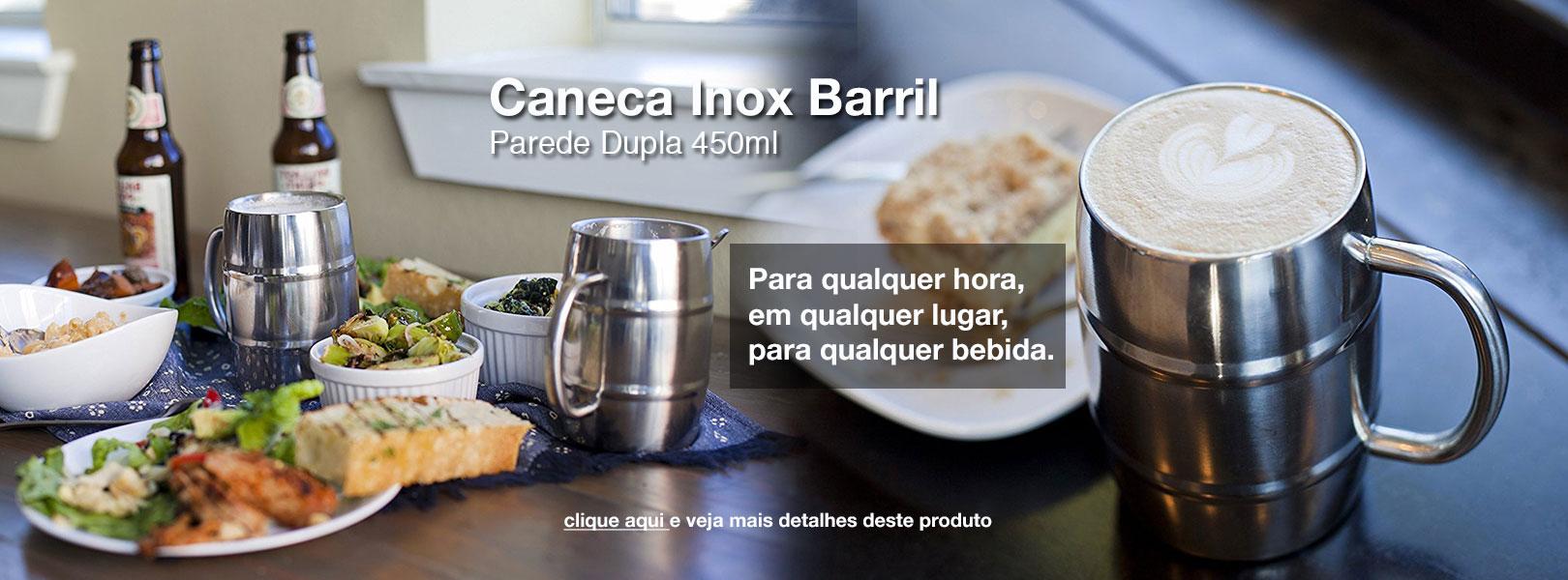 Caneca Barril Inox Parede Dupla 450ml Inove Go
